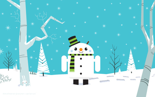 gifted us with this fantastic winter theme Android snowman wallpaper!