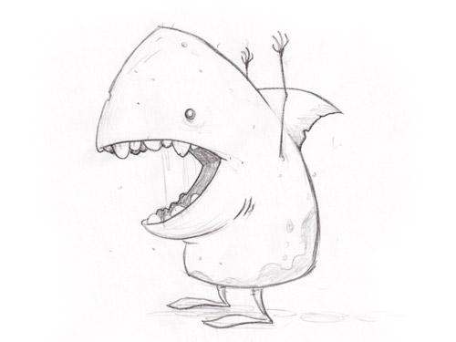shark man doodle